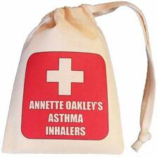 Personalised - Red Cross Asthma Inhaler bag - TINY cotton drawstring bag - EMPTY