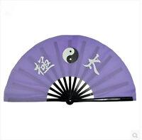 """13""""Chinese Kung Fu Wushu martial art Show Fan Black Bone Purple Fan"""" Tai Chi """""""