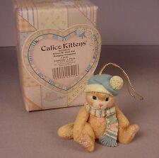 Enesco Calico Kittens figurine Christmas Ornament MIB Blue Hat #623814 Cats 1993