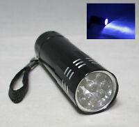 9 LED 390 395 Nm Uv Ultra Violet Blacklight ID Passport Inspection Flashlight