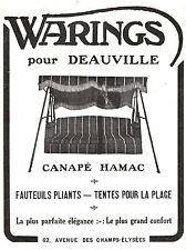 PUBLICITE  CANAPE HAMAC WARINGS DEAUVILLE BALANCELLE  ART DECO SWING   AD  1924