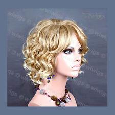 Impresionante mezcla rubia rizado peluca corta Precioso Verano Estilo Piel Top Damas Wiwigs UK