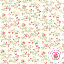 Moda 3 SISTERS FAVORITES 3770 11 WHITE & Pink FLORAL 3 Sisters QUILT FABRIC
