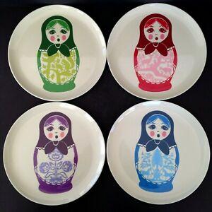 Set Of 4 Thomaspaul Melamine Russian Nesting Doll Matreshka Plates 9 Inch