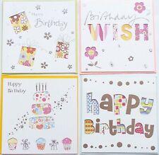 Birthday Card, Greetings 4 mixed designs -  Handmade Square