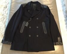 NWT Rag & Bone Mens Wool Leather Military Peacoat Made In USA 42 Large $995