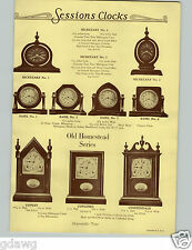 1928 PAPER AD 2 Sided Sessions Clock Clocks Secretary Easel Old Homestead Banjo
