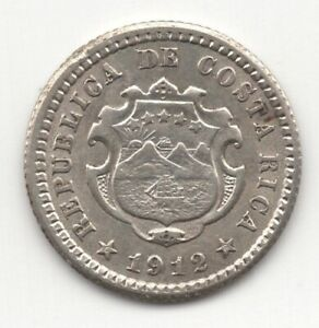 1912 COSTA RICA SILVER 5 CENTIMOS UNCIRCULATED