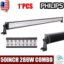 50INCH 288W LED WORK LIGHT BAR SPOT FLOOD COMBO OFFROAD SUV 4X4 UTV JEEP PHILIPS