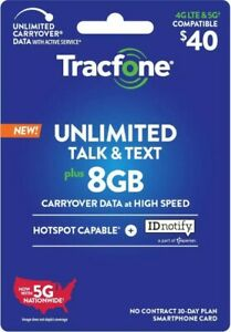 TracFone refill unlimited minutes/texts 8GB data 30 for days