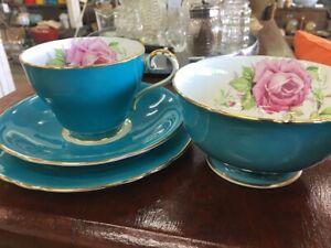Aynsley Teal Blue Cabbage Rose Tea Cup Trio & Sugar Bowl