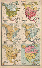1931 MAP ~ NORTH AMERICA ~ SHOWING TEMPERATURE RAINFALL POPULATION & POLITICAL