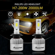 2017 NEW H7 200W 20000LM PHILIPS LED CAR HEADLIGHT KIT BULBS 6000K REPLACEMENT