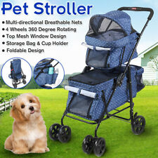 4 Wheel Double Deck Walk Travel Pet Cat Dog Stroller 2-in-1 Detachable Foldable