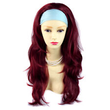 Burgundy Red Mix Long Layered Wavy ends 3/4 Wig Fall Hair