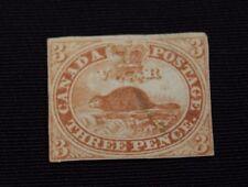 Canada Stamp Scott #4 3p Beaver Wove paper Used VF