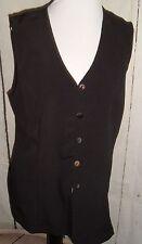 Womens Vtg 90s Black Crinkle Vest blouse Shell button Byer Ca Paquette Sz L