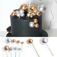 Gold Foam Balls Cake Topper Birthday Wedding Party Cupcake Decor Inserts Q3M7