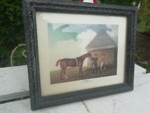 Old Vintage Print Framed George Stubbs Eclipse Racehorse Ebonised Wood Frame