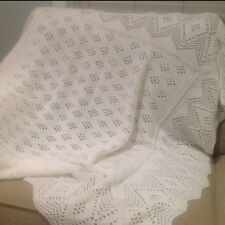 Hand Knitted White Lace Baby Blanket in Pure Merino Baby Wool. Christening Shawl