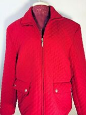 Jane Ashley Casual Red Quilted Longsleeve Zip Front Women's Jacket Size XL