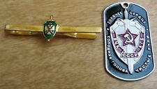 Russian Federal Security Service field tie clip + KGB souvenir style dog tag