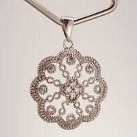 Edwardian Revival Milgrain CZ Flower Cluster Sterling Silver Pendant 2.3g