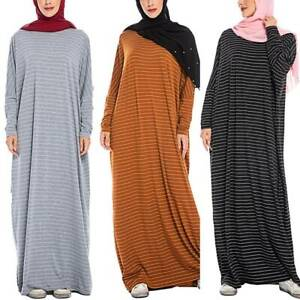Womens Muslim Long Sleeve Kaftan Maxi Dress Abaya Jilbab Islamic Dubai Arab Robe