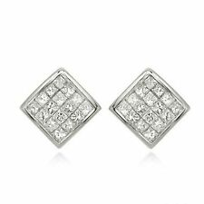 Pave 1.20 Cts Princess Cut Natural Diamonds Stud Earrings In Fine 18K White Gold