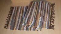"""Fenced In Chindi Rag Rug Table Runner, 13""""x36"""", Gold, Brown, Green, Earth Tones"""