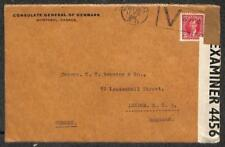 CANADA SCOTT #233 STAMP TO ENGLAND DENMARK DIPLOMATIC MAIL CENSORED COVER 1941