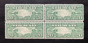US 1927 Sc #C9 US Map and Mail Planes Airmail Block, VLH, OG