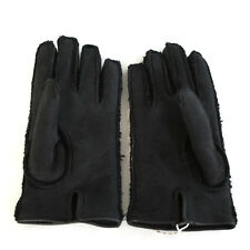 VALENTINO GARAVANI mens charcoal gray black leather shearling lined gloves 9 NEW