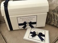 IVORY/WHITE PERSONALISED VINTAGE WEDDING POST BOX CHEST AND GUEST BOOK GIFT SET