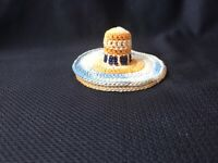 Vintage Antique Thimble Holder Pin Cushion Crocheted Beaded Miniature Hat c1950s
