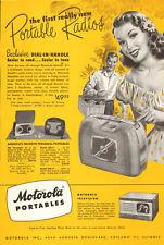 1948 vintage AD  MOTOROLA Portable Radios Dial in Handle also early TV 041815