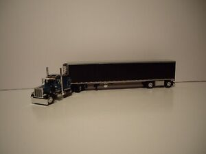 DCP FIRST GEAR 1/64 TEAL AND BLACK PETERBILT 359 WITH SLEEPER AND REEFER VAN