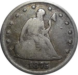 1875-P Seated Liberty Twenty Cent Piece - Philadelphia Mintage - Scarce Date!