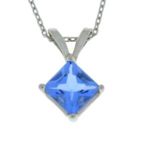 14Kt Gold Tanzanite Princess Cut Pendant Necklace