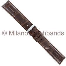 20mm Di Modell Matte Brown Genuine Louisiana Alligator Stitched Watch Band XL