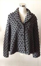 OPENING CEREMONY Wool Blend Lined Gray Swing Jacket/Coat w/Black 3D Dots sz M