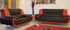 Black Red Sofa Palermo Napoli 3 2 Seater Faux Leather Modern Retro Couches Karol