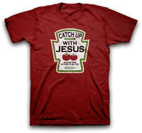 Mens Christian T-Shirt Catch Up With Jesus by Kerusso BRAND-NEW