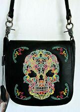 Colorful Sugar Skull on Black Genuine Leather Messenger Bag by Montana West