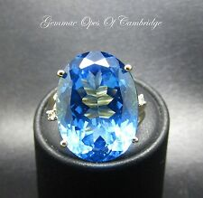 9ct Gold Oval cut Electric Blue 22 carat Topaz with Accents Ring Size J 10.2g