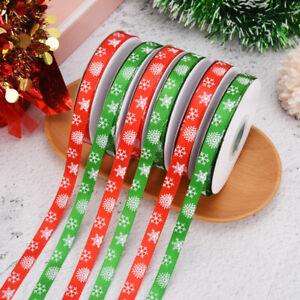 1 Roll 25 Yards Green Christmas Snowflake Ribbons DIY Gift Boxes Wrapping Decor