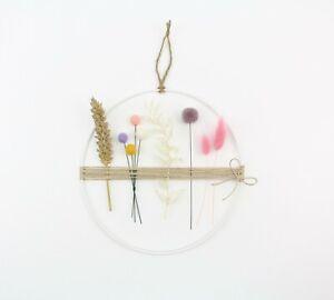 Trockenblumenkranz Blumenring Filzkugeln & Pom Poms 20 cm Lagurus Weizen Ruscus