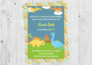 Personalised Dinosaur baby boy, Baby shower, invitations with envelopes.