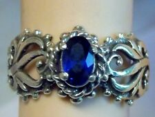 BLUE SAPPHIRE RING SIZE 5.5 ANTIQUE 925 STERLING SILVER FILIGREE .60CT USA MADE