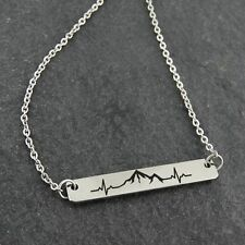 Engraved Mountain Range Heartbeat Bar Necklace - Stainless Steel - Peak Hike NEW